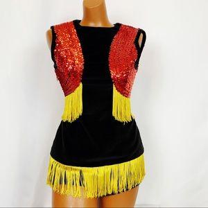 Vintage Velvet Fringe Sequin Majorette Costume Set